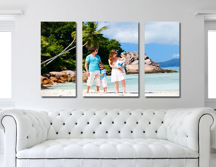 One Family Photo Converted Into A 3 Panel Canvas Print Family Photo Canvas Displaying Family Pictures Photo Wall Collage