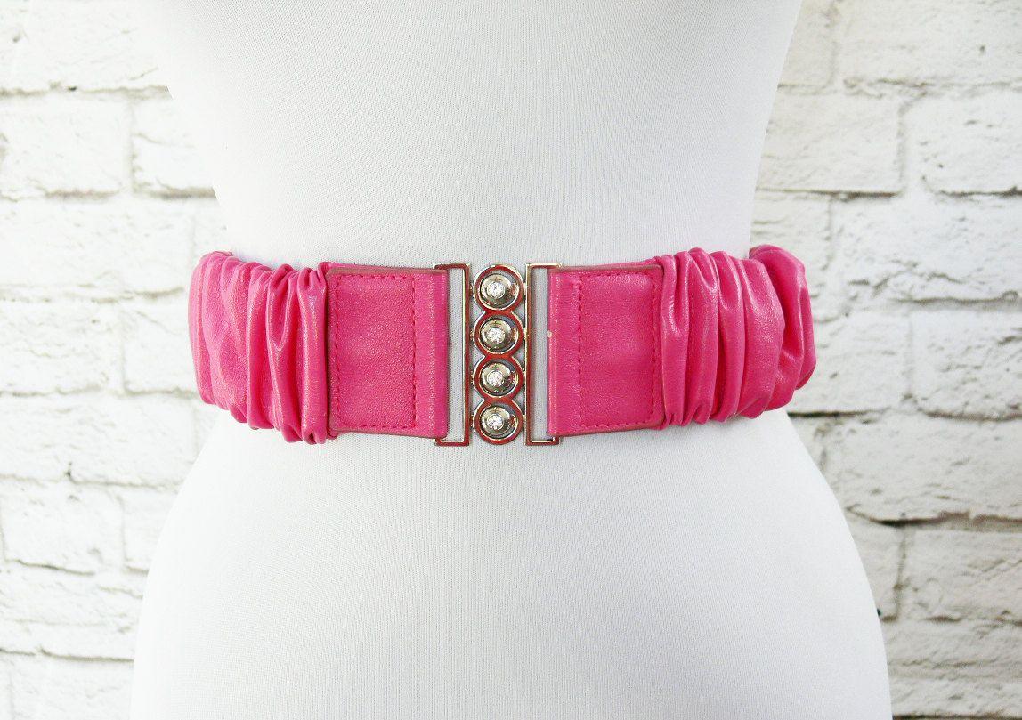 Vintage 80s Hot Pink Scrunch Wide Belt Silver Rhinestone Buckle Elastic Vegan Faux Leather by PopFizzVintage on Etsy