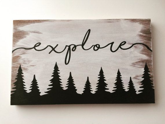 Explore wood sign, hand painted wood sign, perfect for home decor or nursery decor, travel sign, nature sign #woodsigns