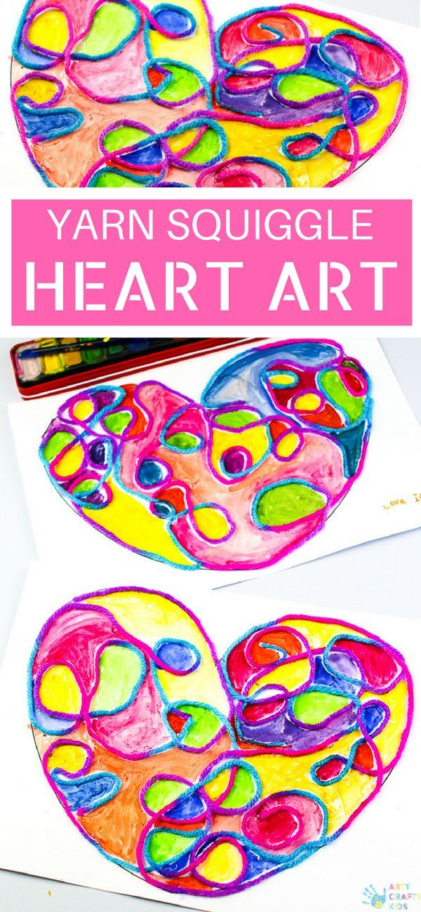 Yarn Squiggle Heart Art | Fun art projects, Process art and Crafty ...