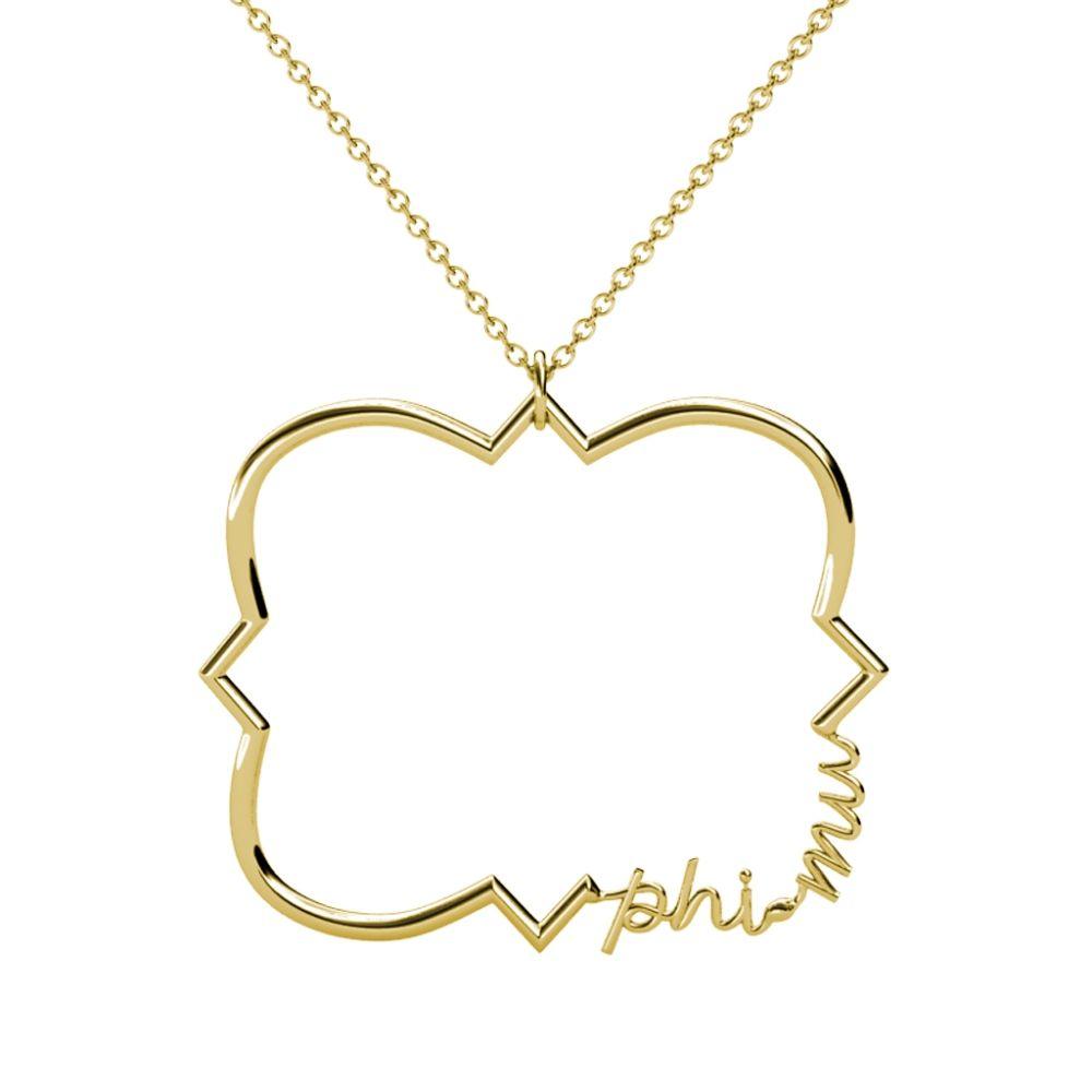 Phi mu quatrefoil necklace quatrefoil greek design and outlines aloadofball Choice Image