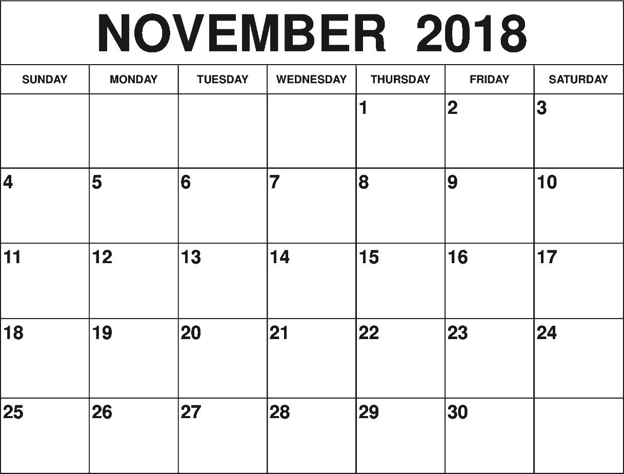graphic about Printable Outlook Calendar identify Print November 2018 Calendar Outlook Document 125+ November