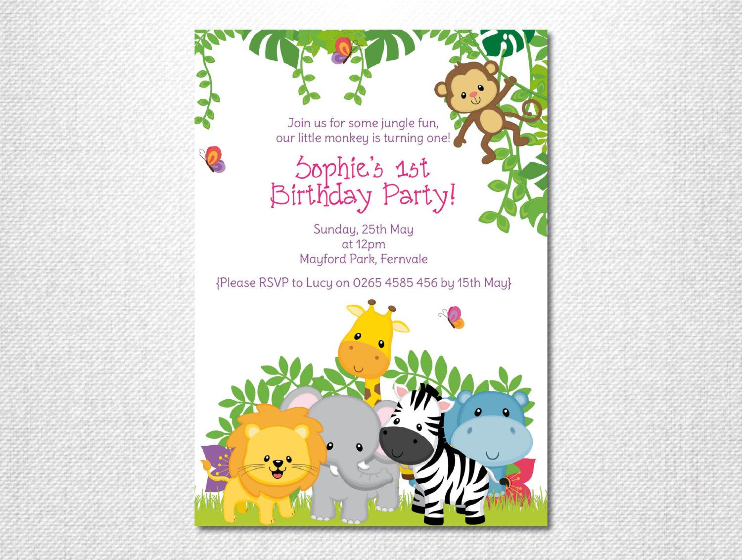 Cheeky Monkey ~ Monkey Invitations ~ Pink Safari ~ Zoo Invitation ...