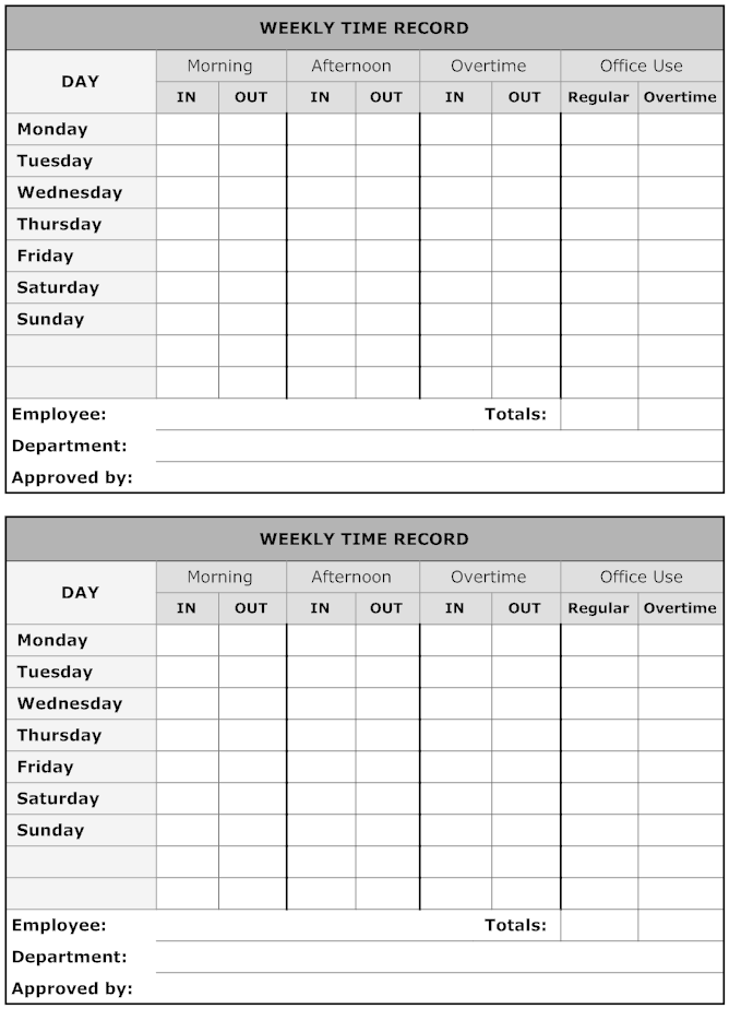 example image  weekly time record