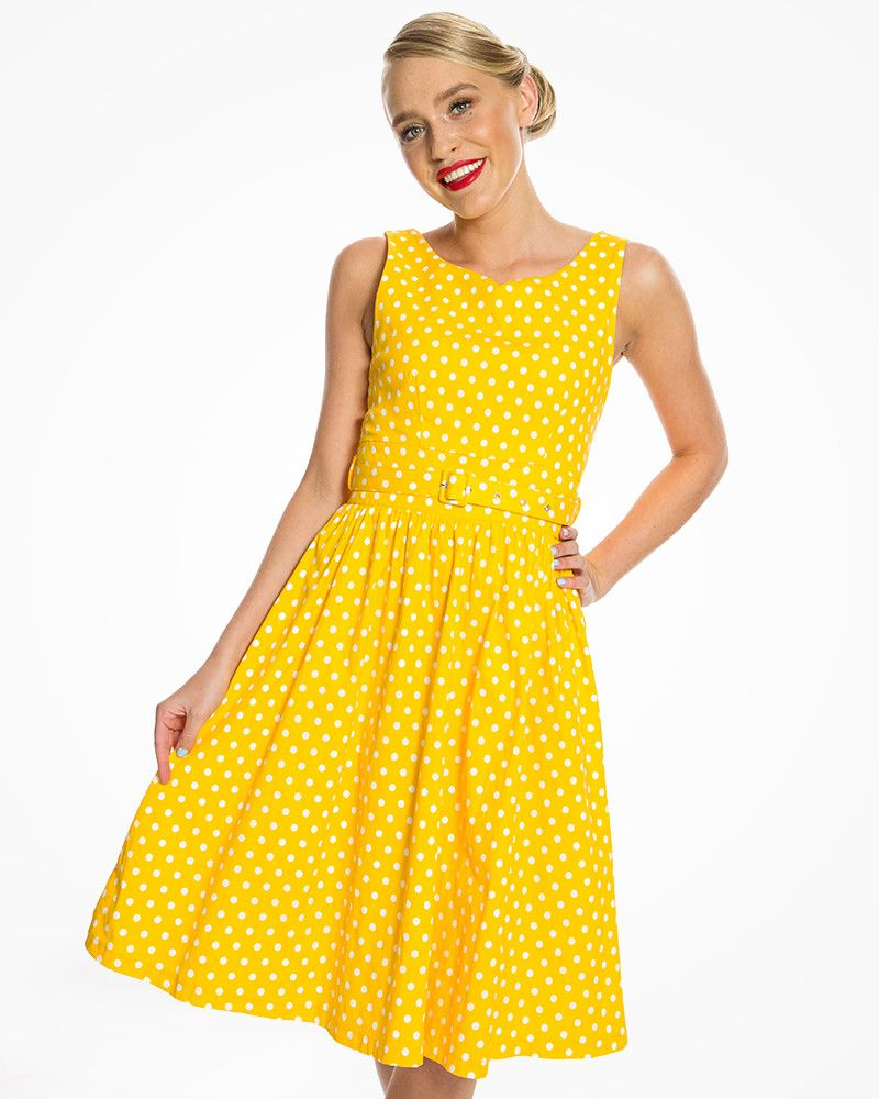 45180d9a825f Delta Yellow Polka Dot Swing Dress | 1950's Inspired Fashion | Lindy Bop
