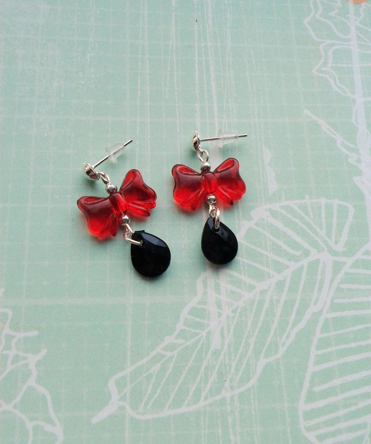Rockabilly Earrings, Red Bow and Black Drop Earrings,Kitsch Drops,Costume Jewelry,Cute Accessories,Lucite Jewelry,Pin Up Style Drop Earrings by RosieMays on Etsy