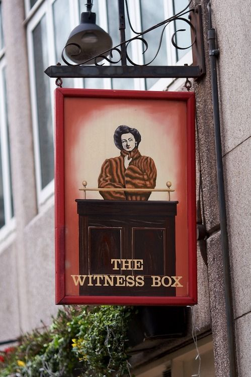The Witness Box pub sign, London, England