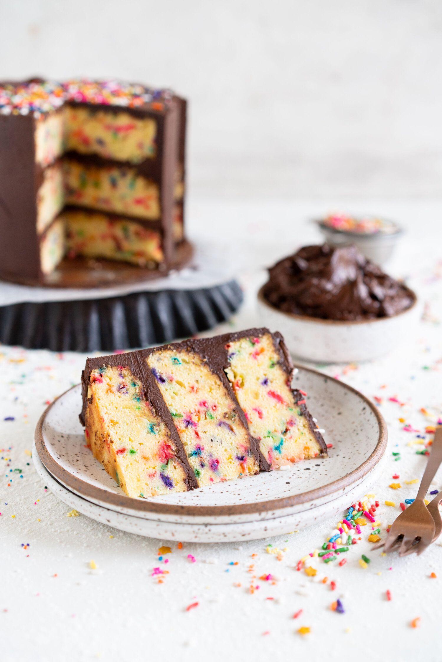 Funfetti cake with dark chocolate buttercream cloudy