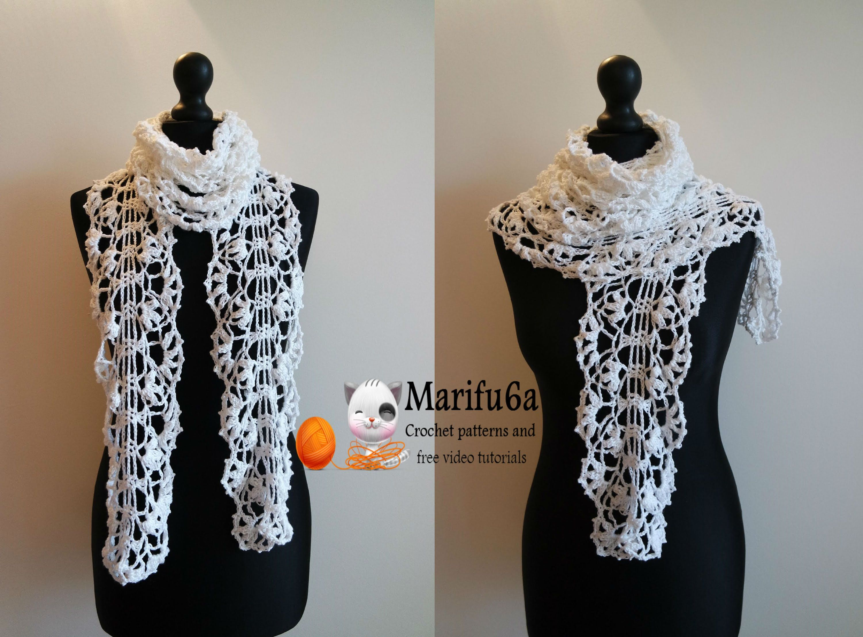 How to crochet white lace scarf free pattern tutorial crochet how to crochet white lace scarf free pattern tutorial bankloansurffo Choice Image