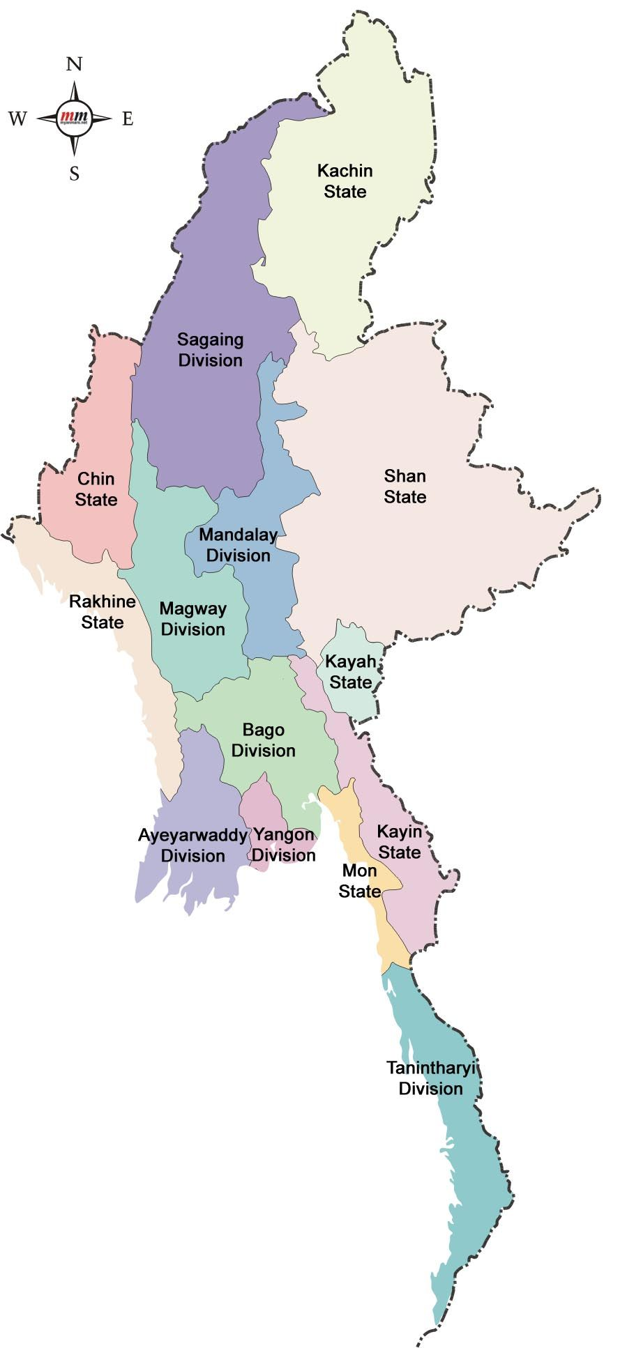 Asia travel Map of Myanmar States
