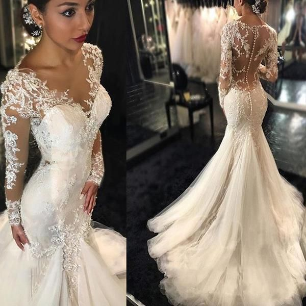 luxury see through long sleeve sexy mermaid lace tulle wedding dresses wd0198