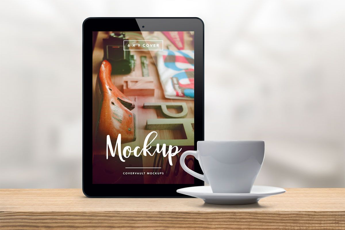 coffee cup tablet ipad ereader mockup template psd | Book Mockups ...