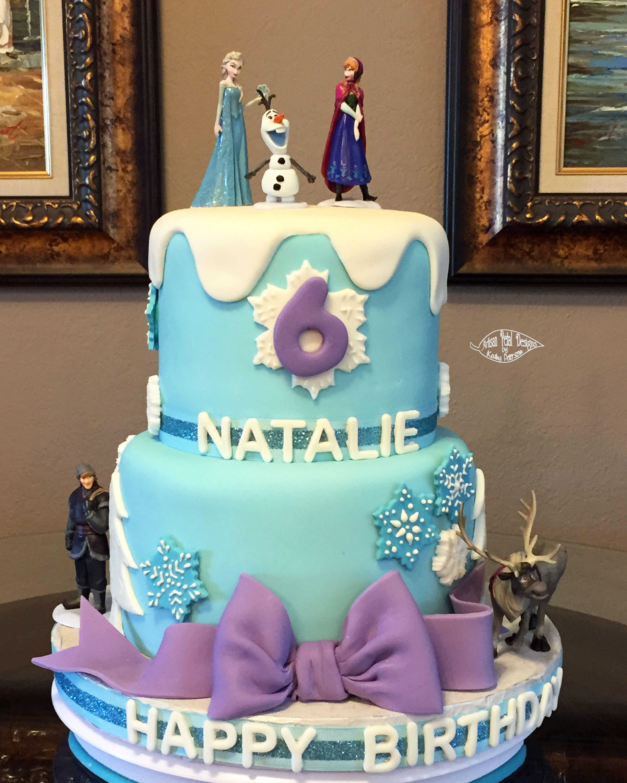 Frozen theme birthday cake using purchased charactersremaining