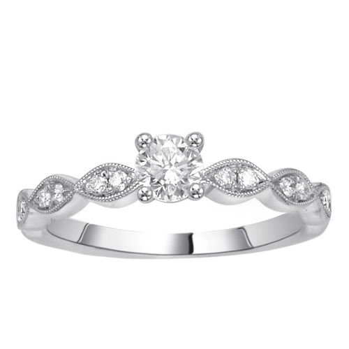 Fink's Round Diamond Engagement Ring with a Marquise Shape Design Shank