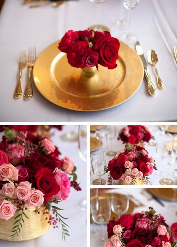 red gold and white wedding ideas%0A Pink  Red  Gold Colors for Wedding Table When Your Big Day