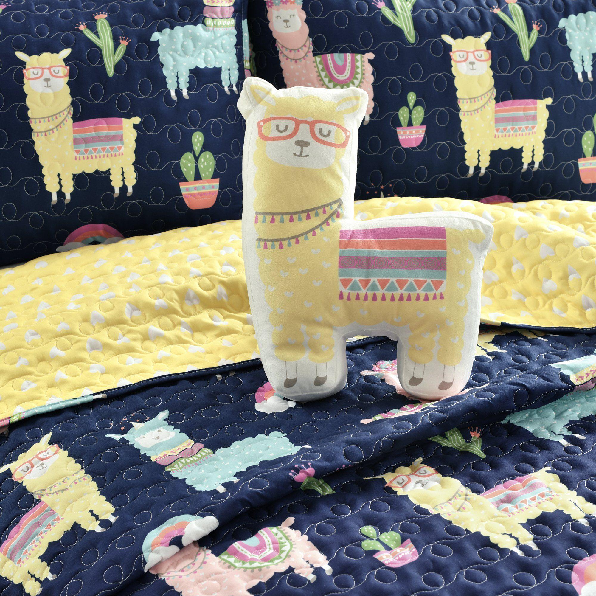 Make-A-Wish Southwest Llama Cactus Quilt Set - Twin / 3-Piece / Navy_Yellow