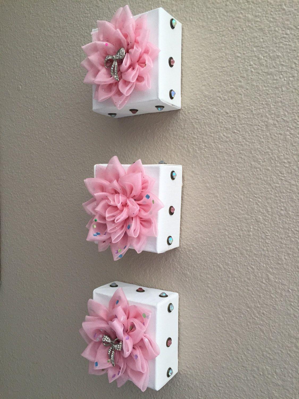 Pink studded trio handmade kanzashi fabric flower wall decor by pink studded trio handmade kanzashi fabric flower wall decor by forgetmenotblooms on etsy amipublicfo Choice Image