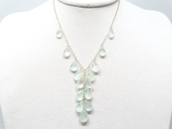Prehnite Necklace 14K Gold Filled chain beaded lime by Redondo