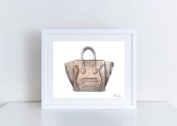 2f327bb85eb3 Celine Luggage Bag Handbag Art Watercolor Painting Designer Fashion  Illustration Fashion Art Preppy Art Print Canvas Gift for Her Vogue Art