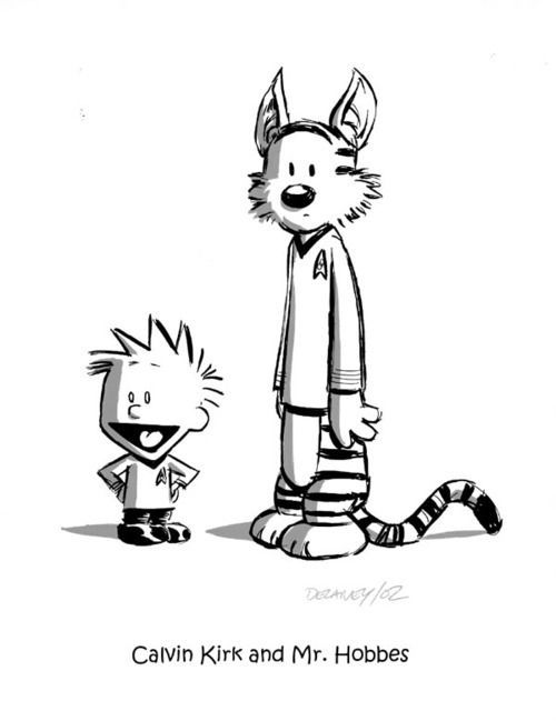 Calvin and Hobbes fan art, Calvin Kirk and Mr. Hobbes (love it!)
