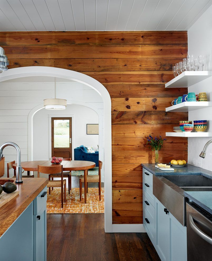 Wall Arch Design Kitchen Farmhouse With Open Doorway White