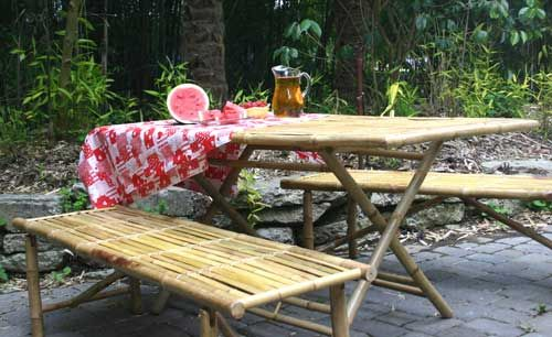 Bon Bamboo Picnic Table! | Camping In Style | Folding Picnic ...
