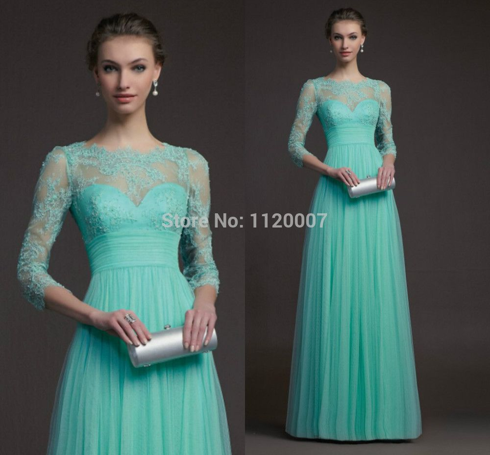 2015 Vestido De Festa Longo High Waist Long Mint Green Modest Prom ...