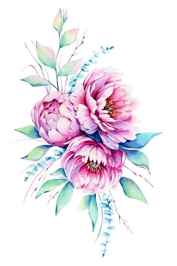 Aquarell Pfingstrosen Digital Poster Aquarell Blumen Tattoos