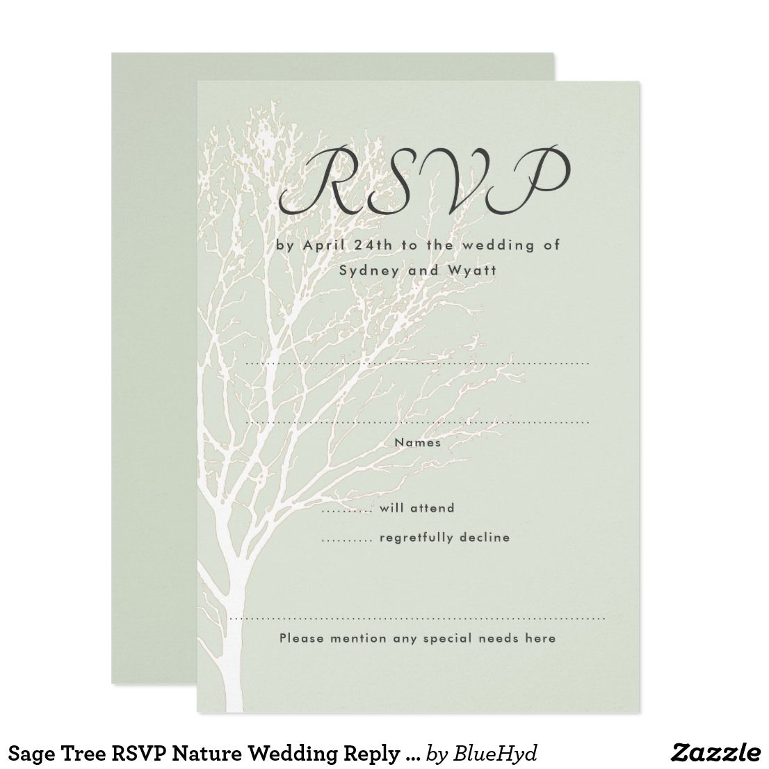 Sage green tree wedding invitation reply cards. Vertical, with a ...