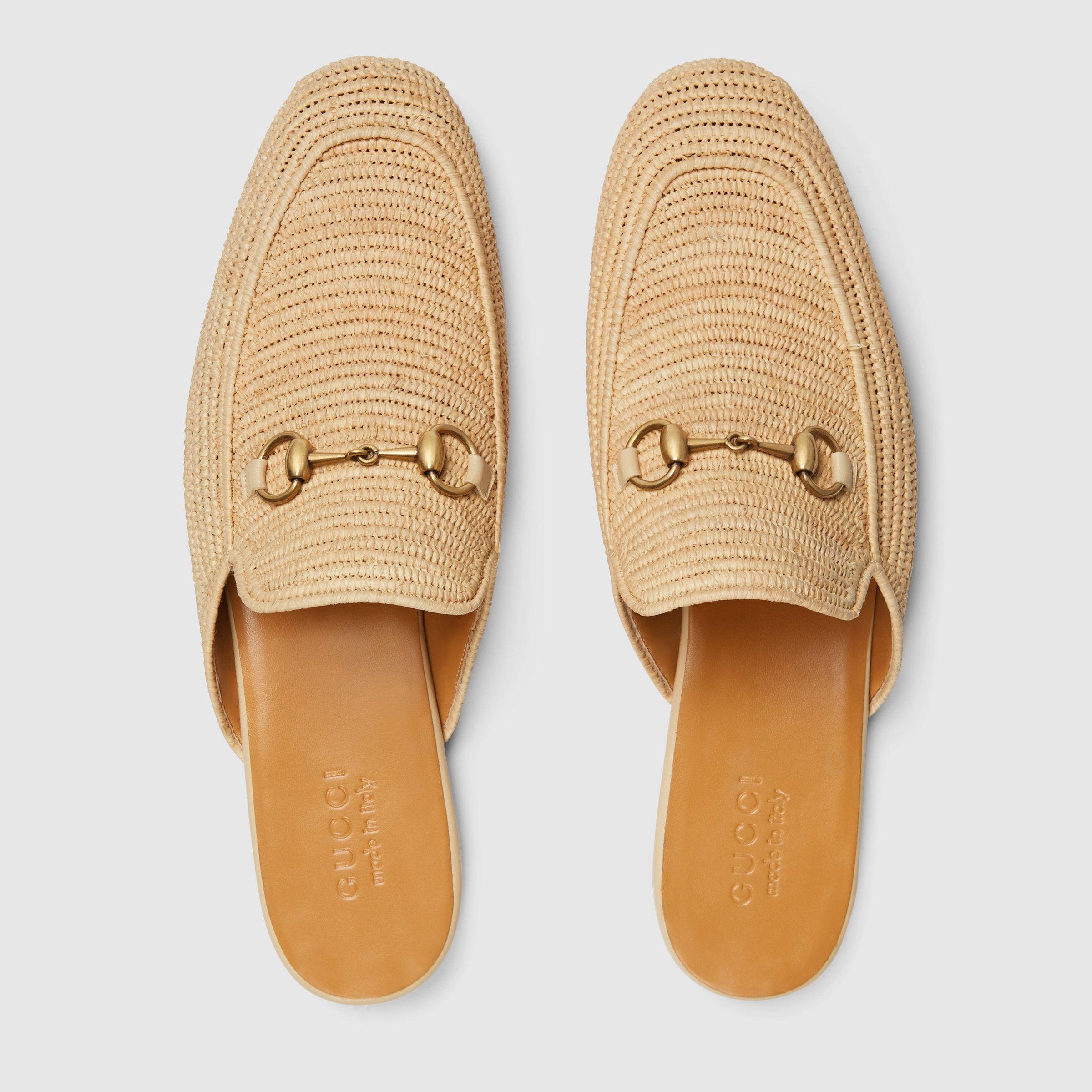 eca179f2b Gucci Raffia Princetown Slippers in Natural Raffia | Mens Shoes ...