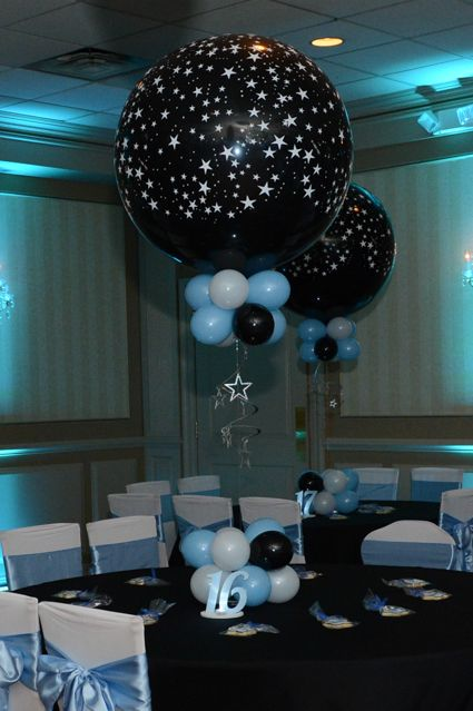 Star balloon centerpiece black light blue