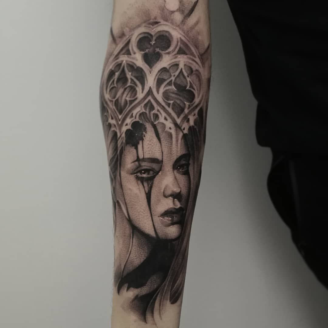 Crying Lady Tattoo. Half Sleeve Tattoo Project. Black And
