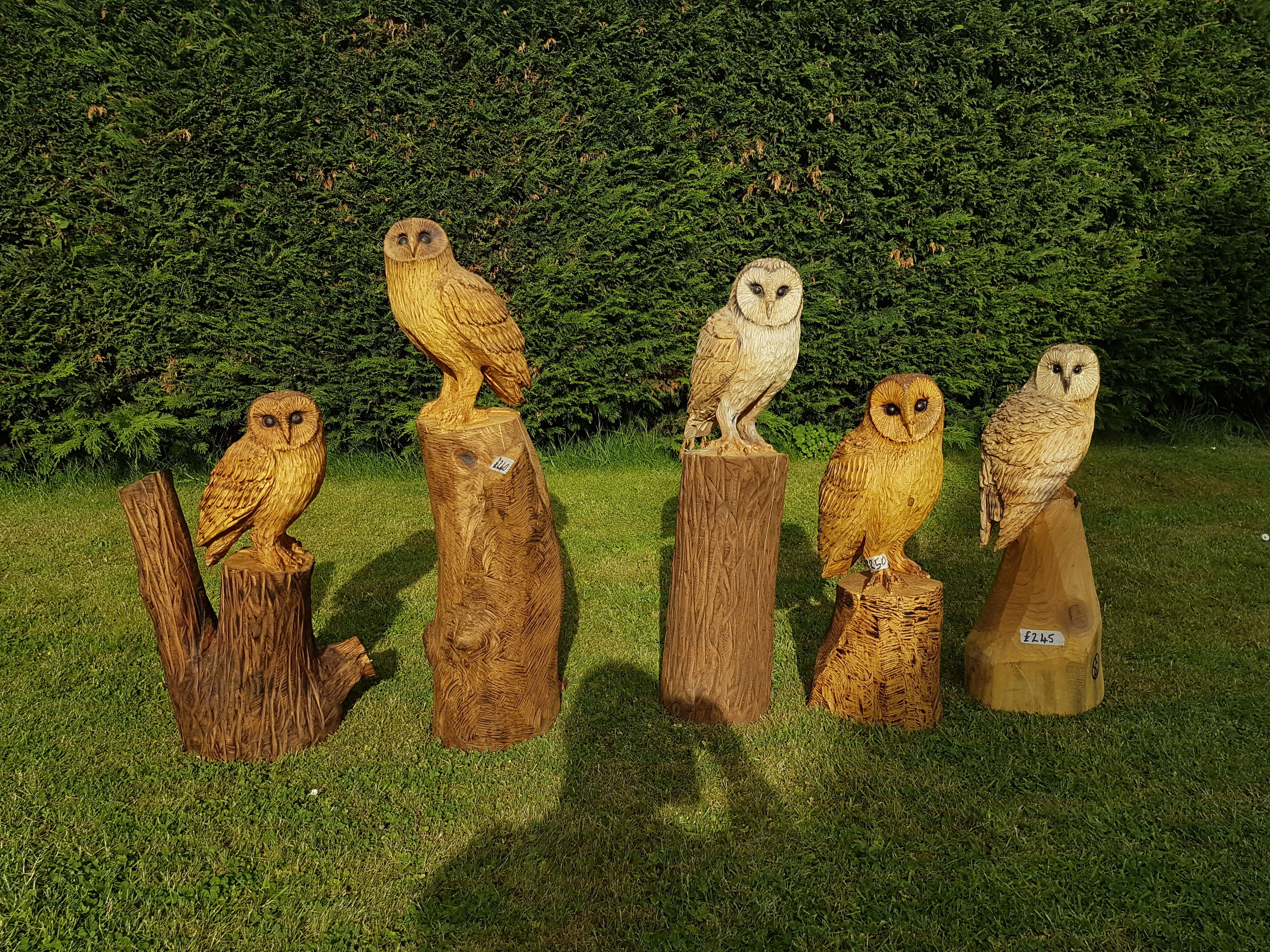 Chainsaw carved owls by shaun gilbert chainsaw carved art