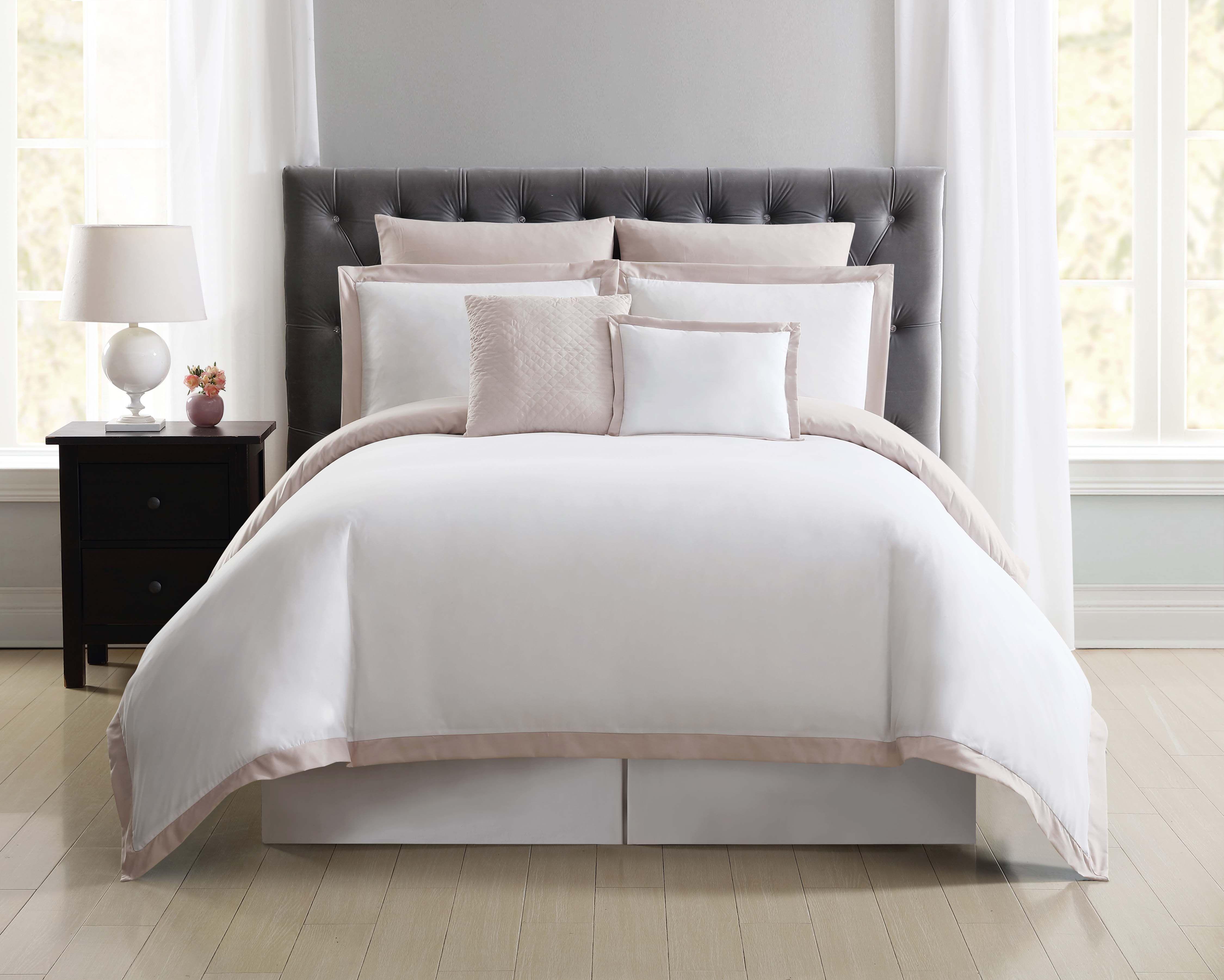 Truly Soft Everyday Hotel Duvet Set, White and Blush