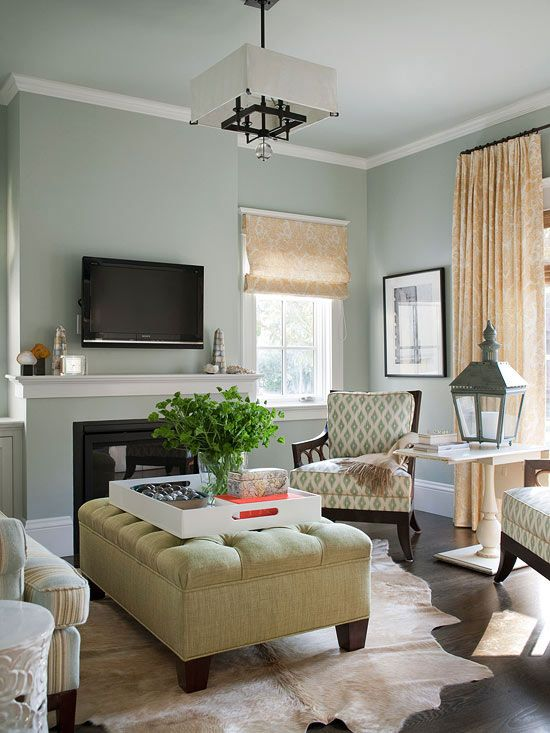 Comfy Yet Chic:: The small living room at the front of the house functions as a grown-up space for entertaining. The colors here mimic those used in the ... & An Open and Family-Friendly Home Makeover \u2013 Better Homes \u0026 Gardens ...