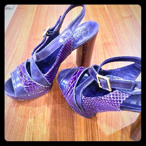 4b6054808 Listing not available. I just added this to my closet on Poshmark  Tory  Burch purple leather wedge sandals ...