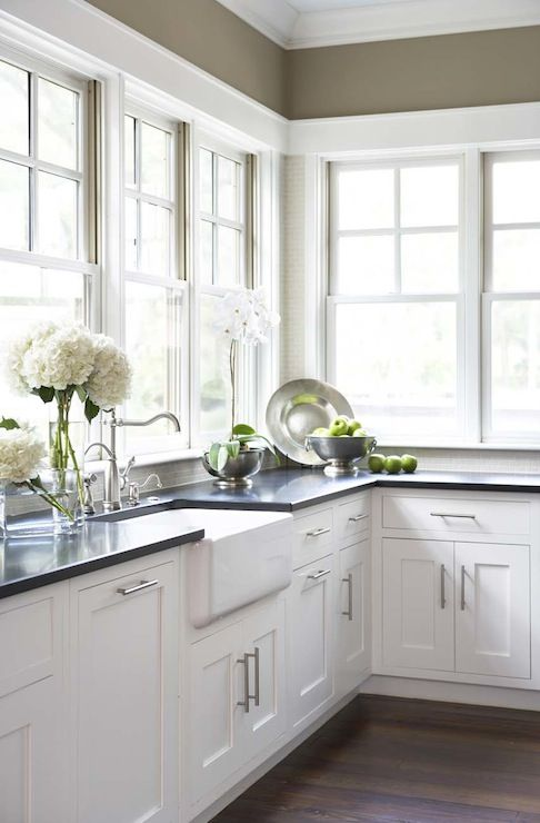 Kitchen With Dark Walls White Cabinets Farmhouse Sink Shaker Honed Black
