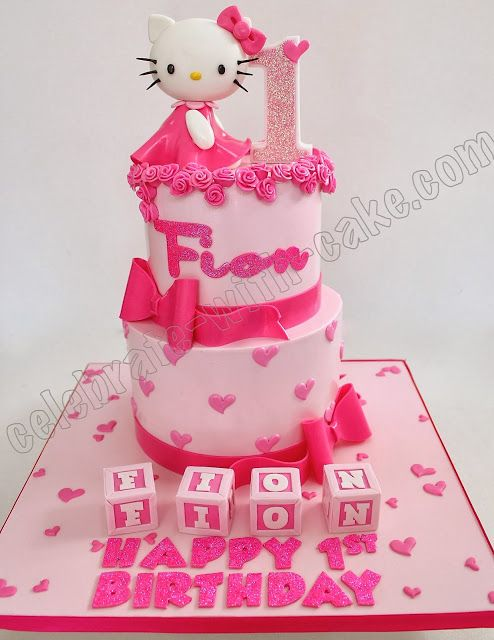 Celebrate with Cake Pretty Hello Kitty 1st Birthday 2 tiers