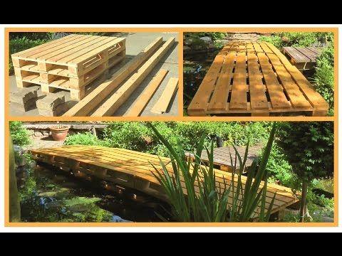 Teichbrücke aus Europaletten stabil, einfach, sehr kostengünstig und