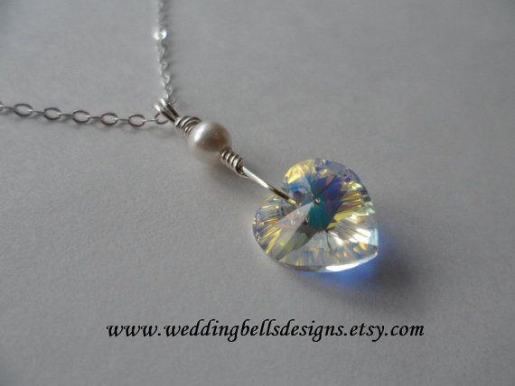 SALE  Swarovski AB Crystal Heart Necklace by weddingbellsdesigns, $21.00