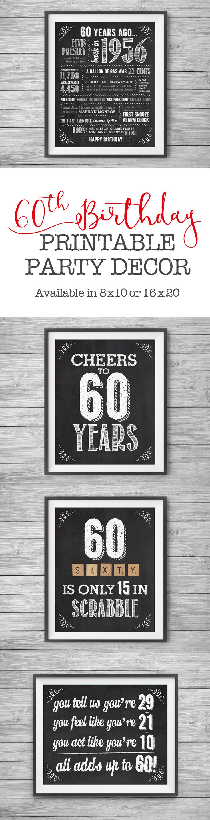 60th Birthday Printable Party Decor Supplies 4 Unique 8x10 Chalk
