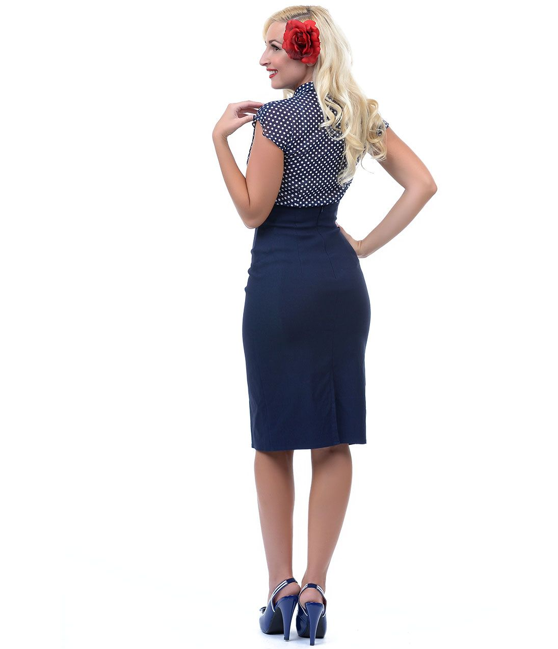 Navy Blue High Waisted Skirt - Dress Ala