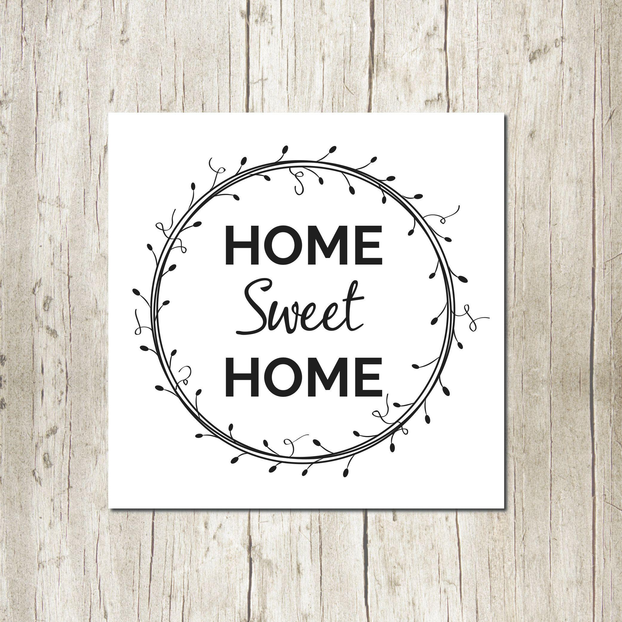 Home Sweet Home Sign Farmhouse Style Black Text White