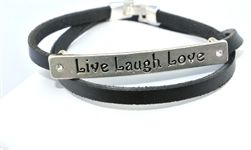 """#love #live #laugh #bracelets #jewelry #leatherbracelets   Live , Love , Laugh double leather wrap Bracelet. Silver clasp fits wrist 6"""" to 7 1/2""""....very cool"""