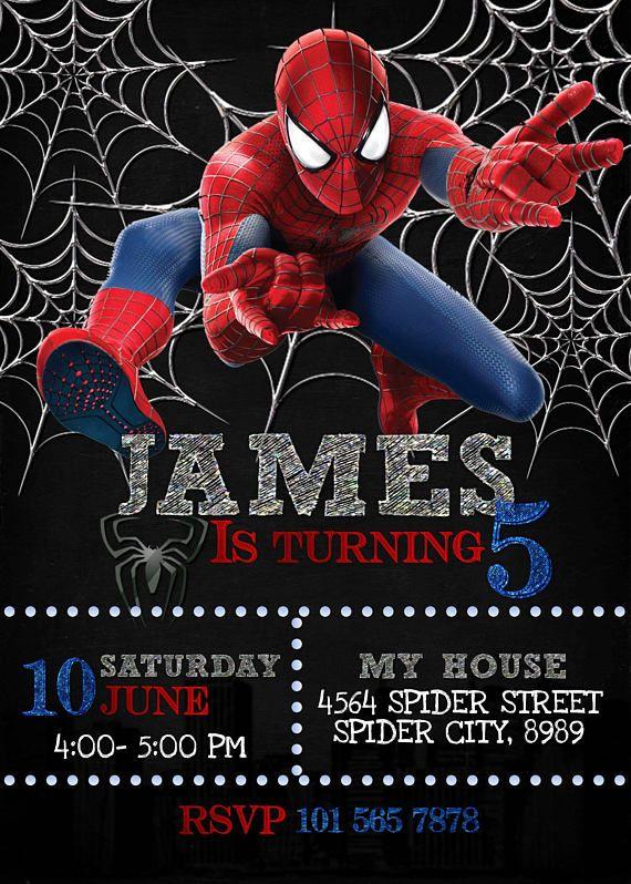 Spiderman Birthday invitation spiderman invitation spiderman
