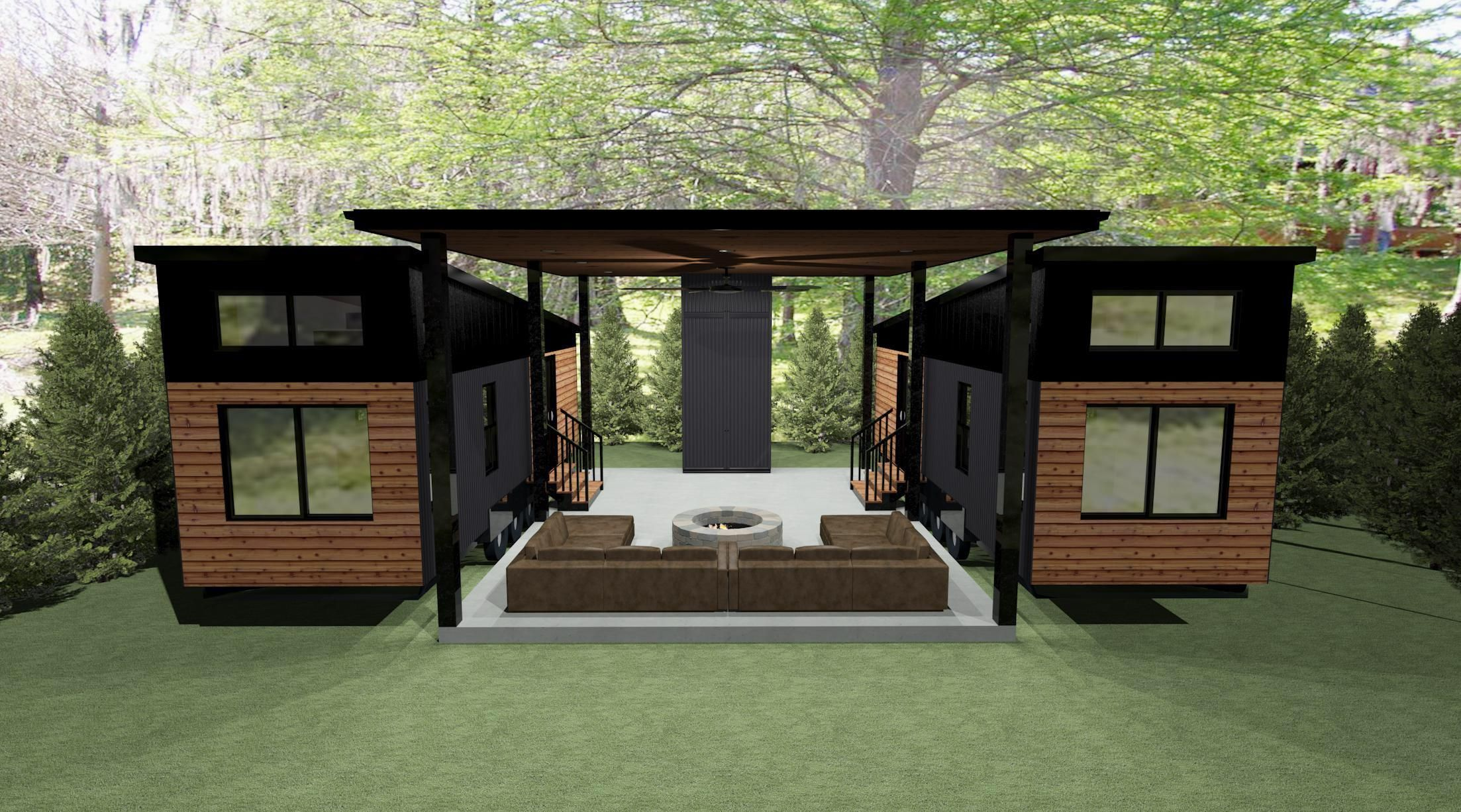Double THOW with open air pavilion between. (Rende