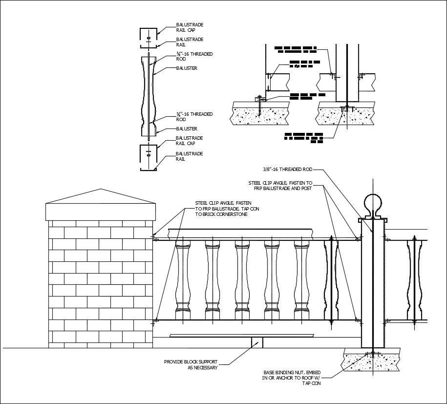 Free CAD Details-Balustrade-Installation