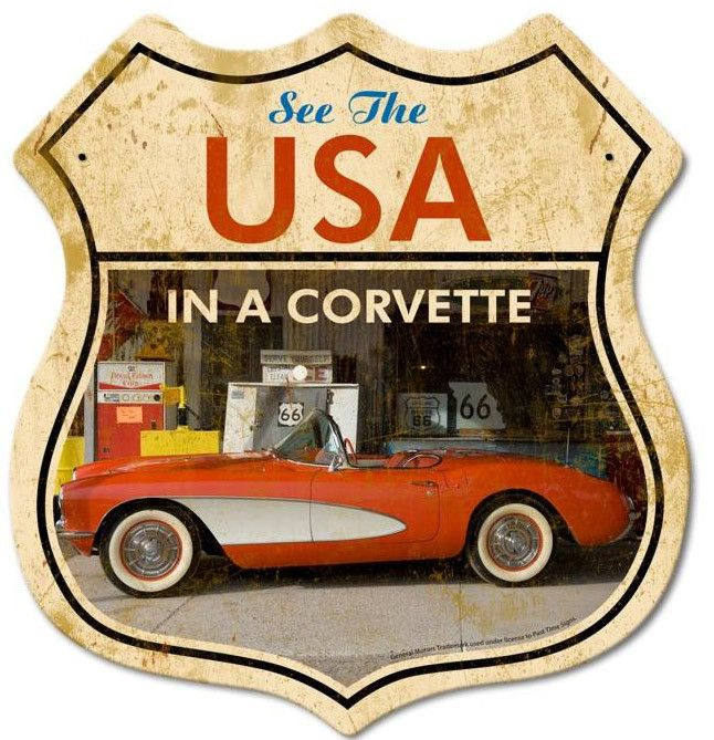 Vintage and Retro Tin Signs - JackandFriends.com - Corvette Road Shield Vintage Metal Sign 15 x 15 Inches, $33.98 (http://www.jackandfriends.com/corvette-road-shield-vintage-metal-sign-15-x-15-inches/)