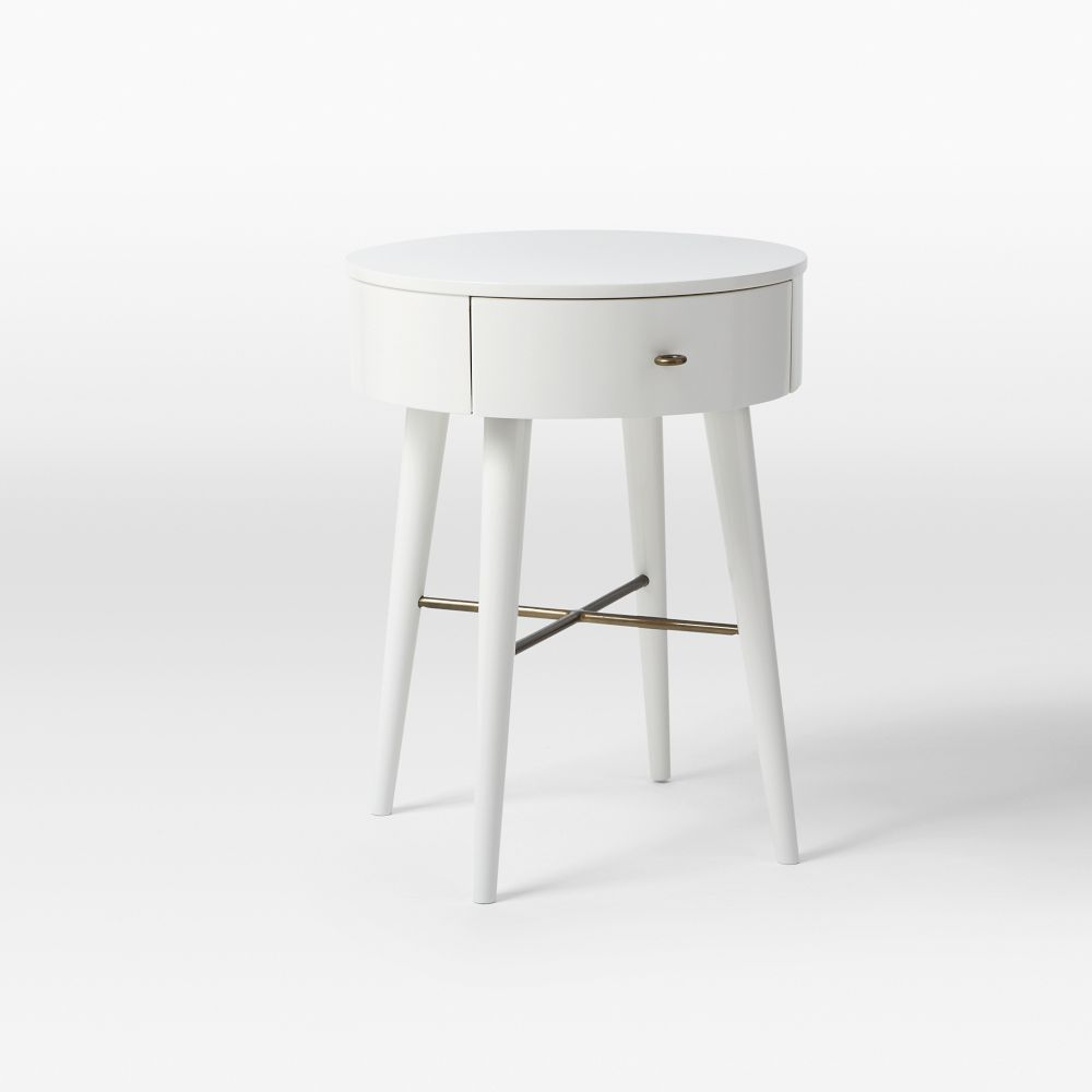 Penelope Bedside Table Small White White Nightstand Round Nightstand Bedroom Night Stands
