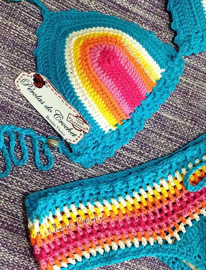 Linha de croche duas cores